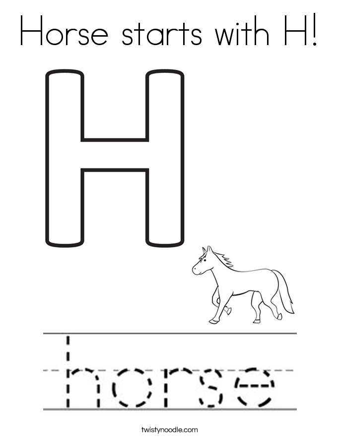 Horse starts with H! Coloring Page