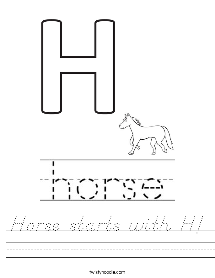 Horse starts with H! Worksheet