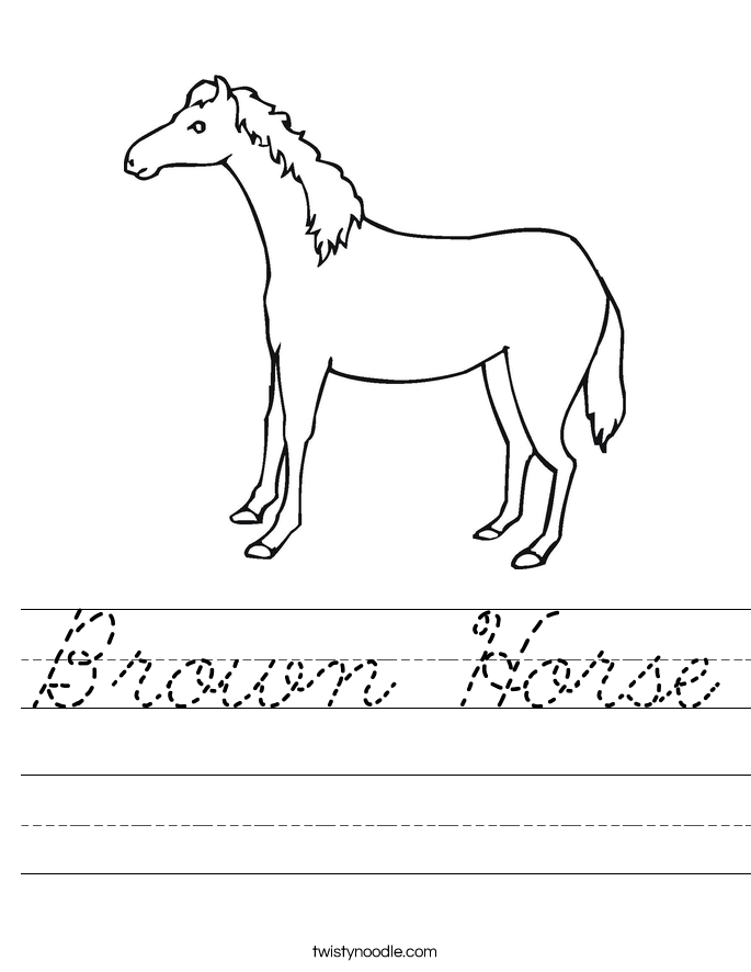Brown Horse Worksheet