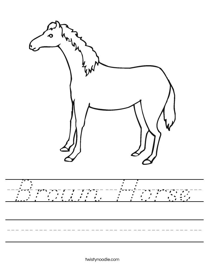 Brown Horse Worksheet