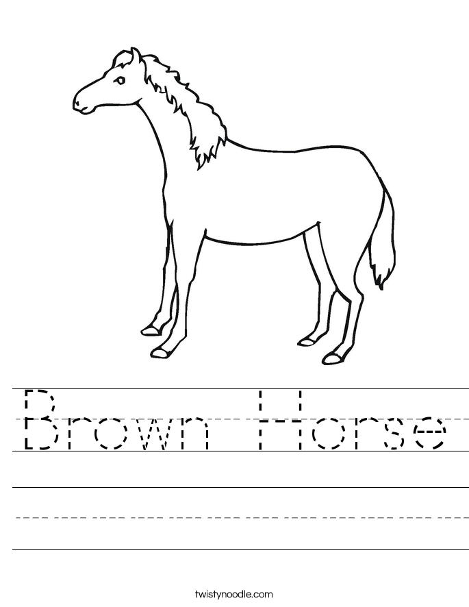 Brown Horse Worksheet Twisty Noodle