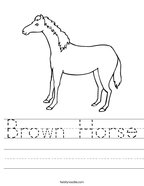 Brown Horse Handwriting Sheet