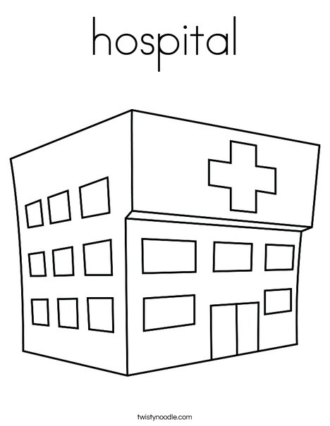 hospital coloring page twisty noodle rh twistynoodle com Doctor Coloring Pages coloring page hospital bed