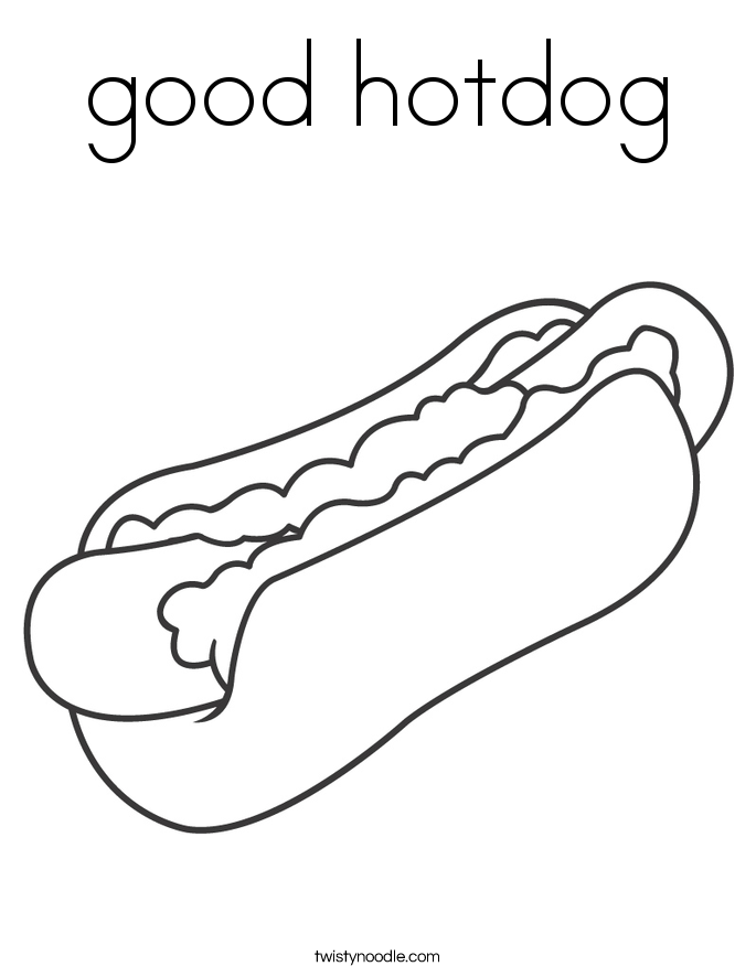Good Hotdog Coloring Page Twisty Noodle