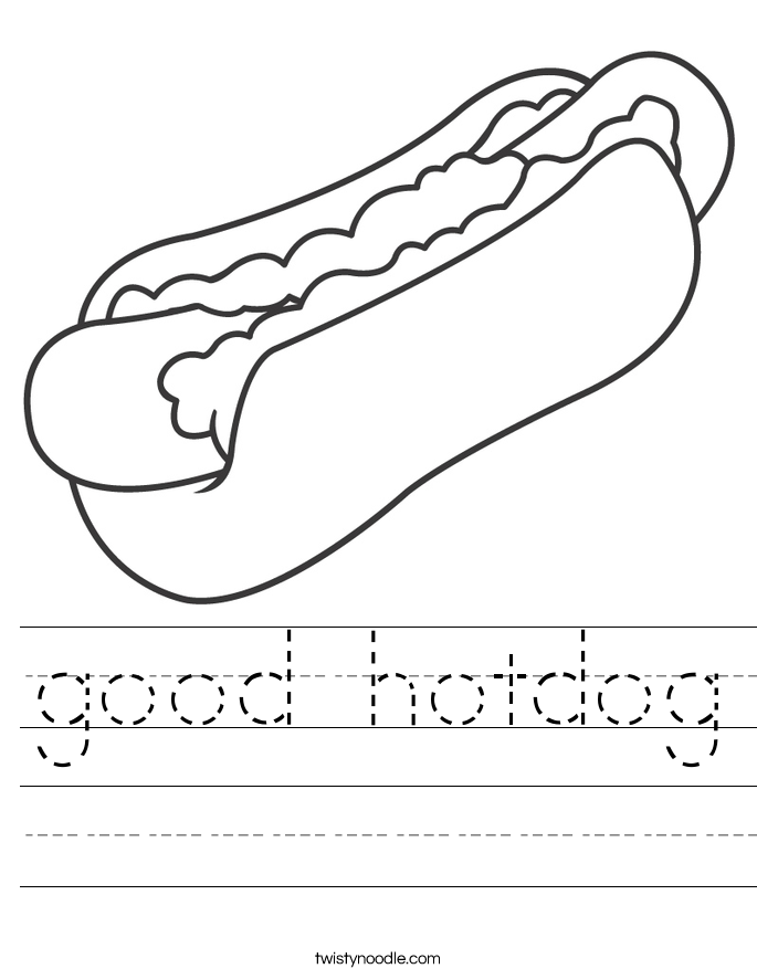 good hotdog Worksheet - Twisty Noodle