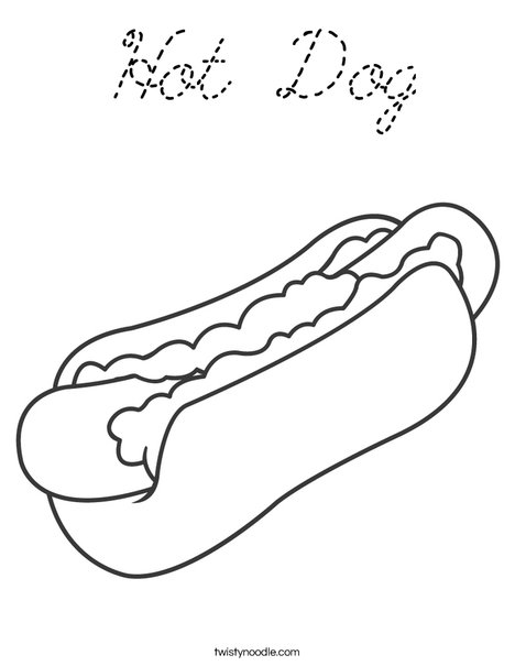 Hot Dog Coloring Page