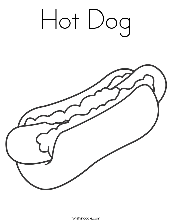 Hot Dog Coloring Page.