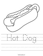 Hot Dog Handwriting Sheet