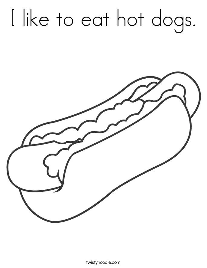 I like to eat hot dogs. Coloring Page