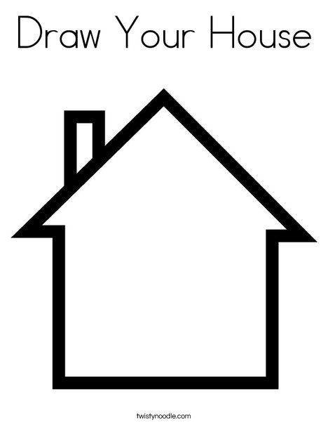 Blank House Coloring Page. Print This