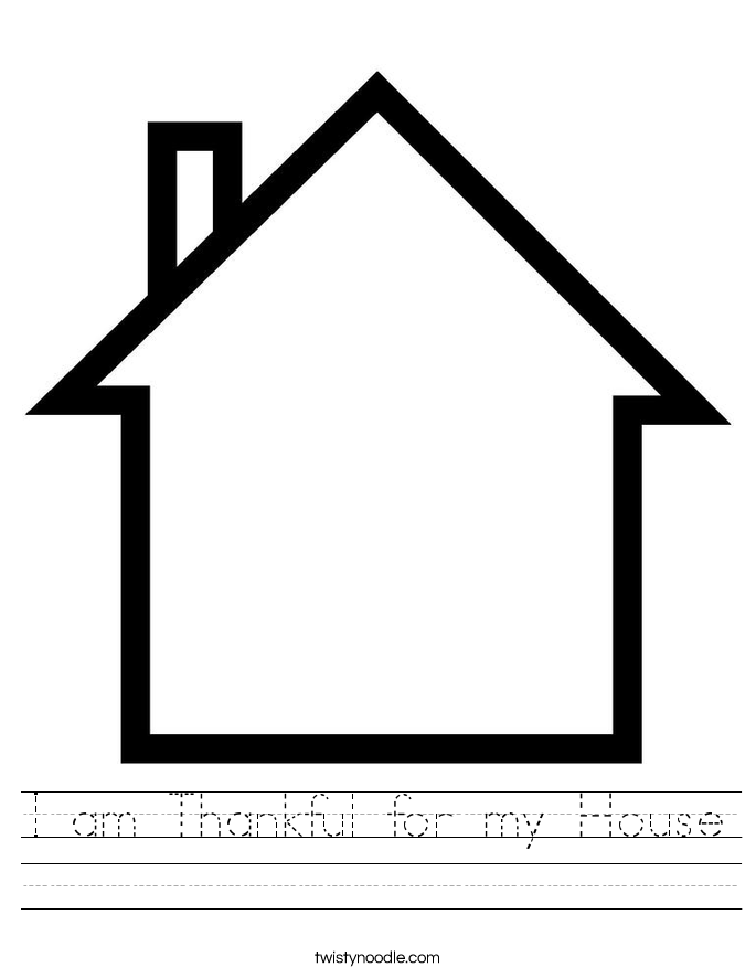 I am Thankful for my House Worksheet