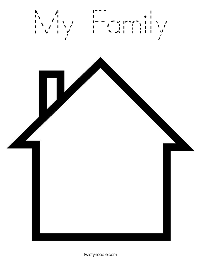 free coloring pages home and family | My Family Coloring Page - Tracing - Twisty Noodle