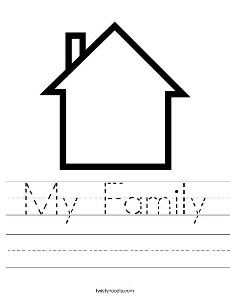 House And Family Coloring Page