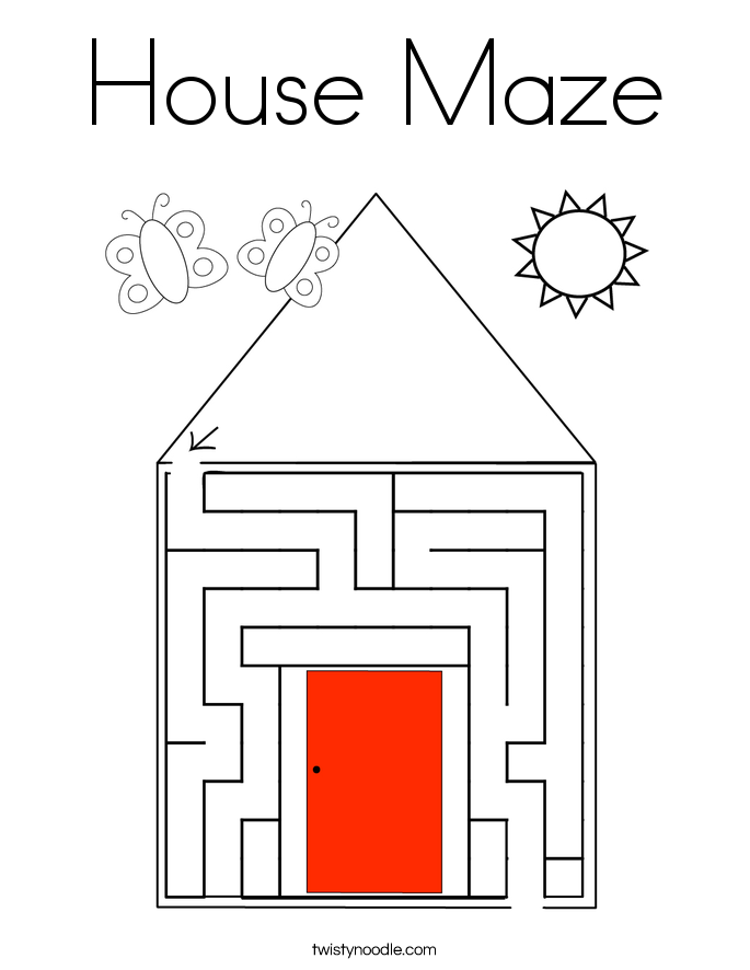 House Maze Coloring Page