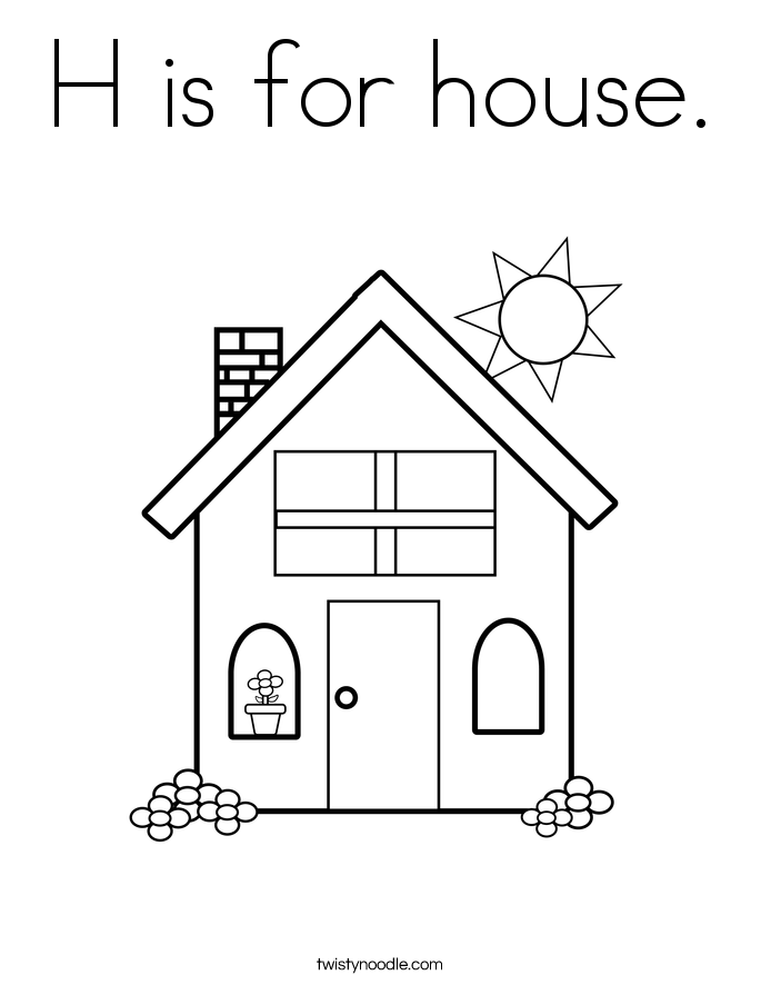 H is for house Coloring Page Twisty Noodle