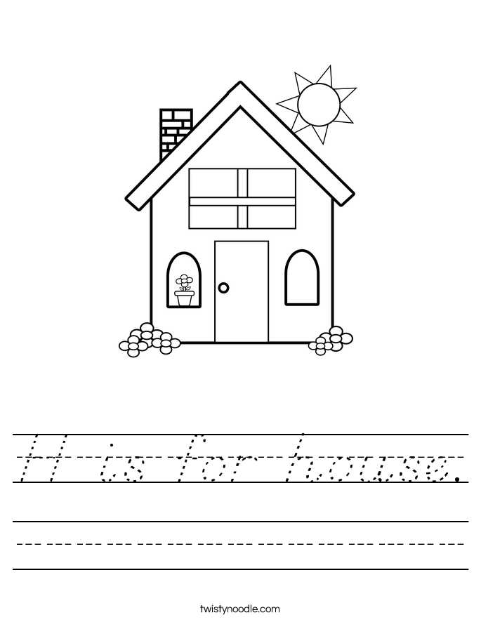 H is for house. Worksheet