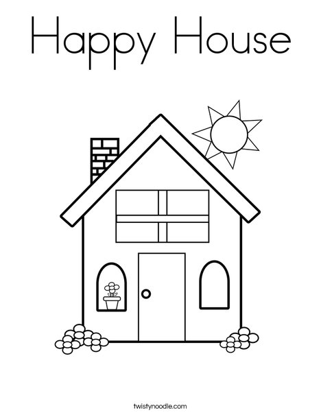 Happy House Coloring Page Twisty Noodle