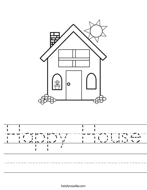 Happy House Worksheet - Twisty Noodle