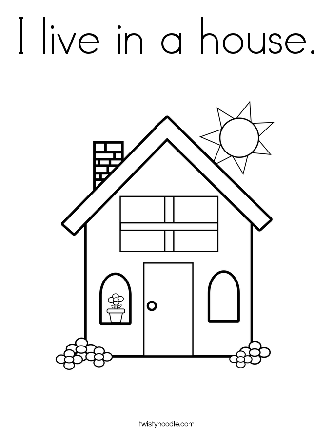 I live in a house. Coloring Page