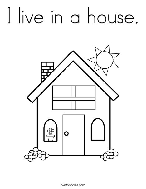 I live in a house coloring page twisty noodle for Open house coloring pages