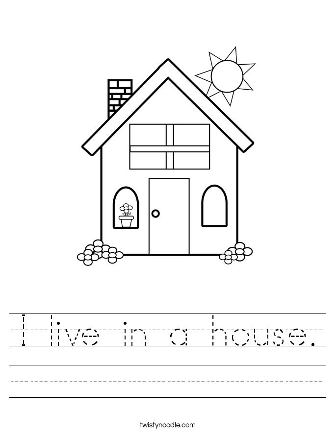 I live in a house. Worksheet