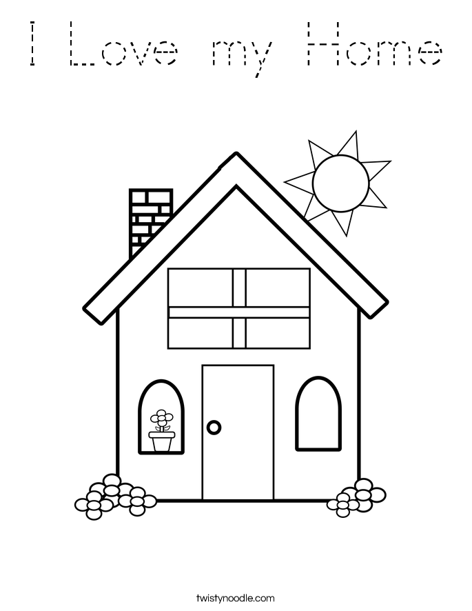 I Love my Home Coloring Page