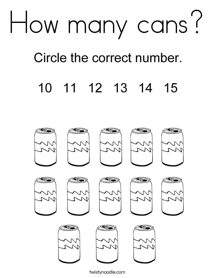 How many cans? Coloring Page