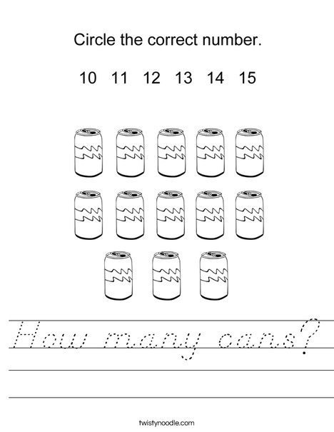 How many cans? Worksheet