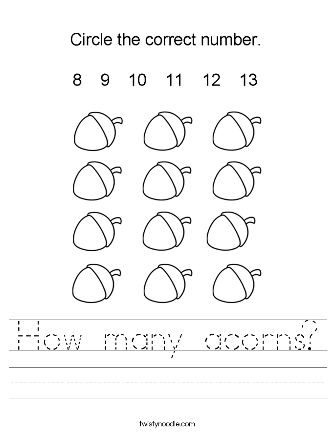 How many acorns? Worksheet