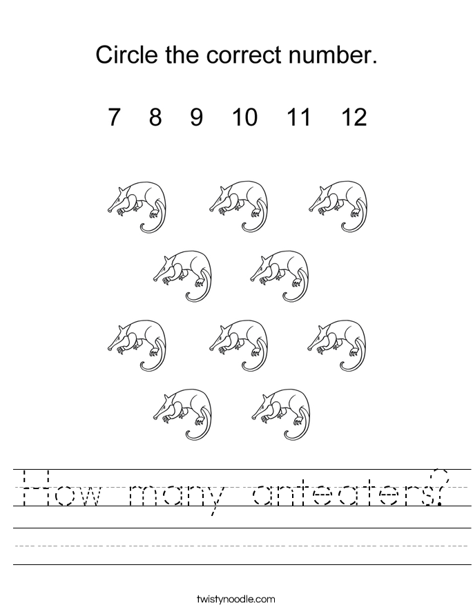 How many anteaters? Worksheet