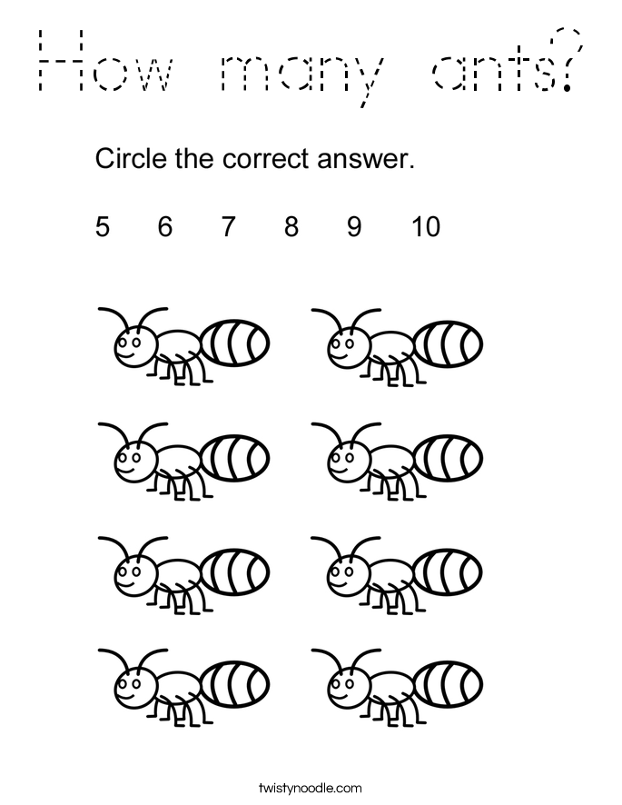 How many ants? Coloring Page