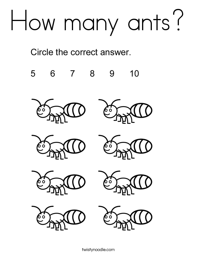 How Many Ants Coloring Page