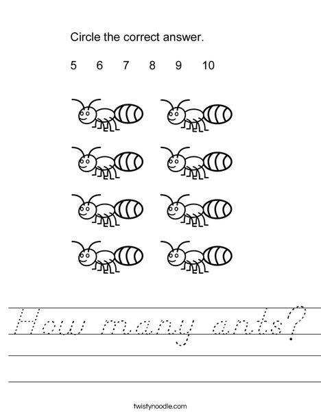 How many ants? Worksheet