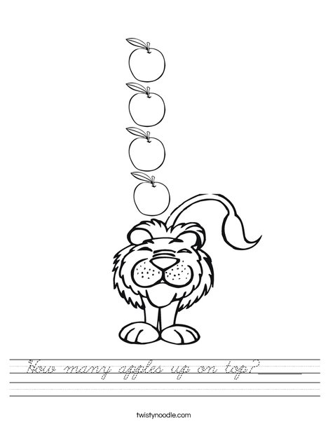 How many apples up on top? _______ Worksheet