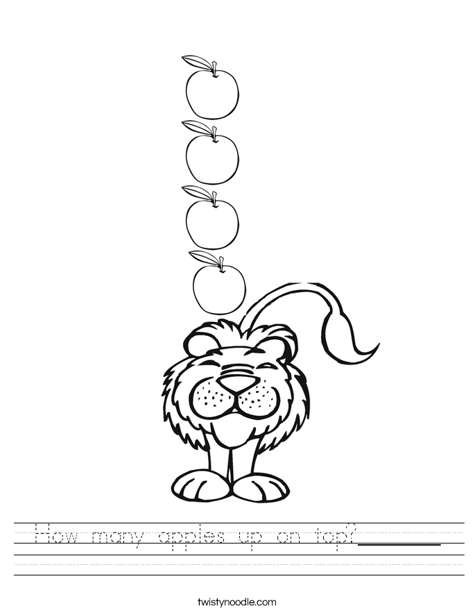How many apples up on top?_______ Worksheet