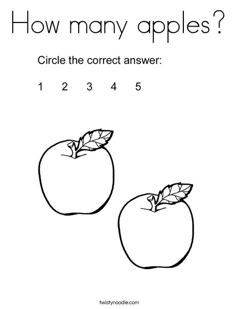 How many apples? Coloring Page