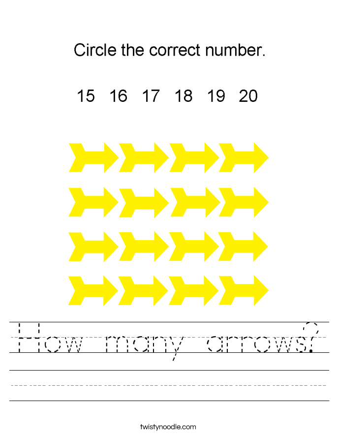 How many arrows? Worksheet