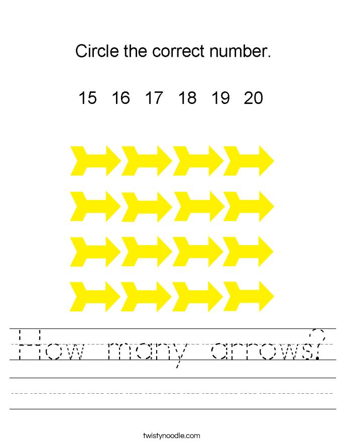How many arrows? Worksheet
