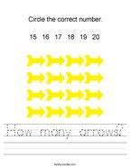 How many arrows Handwriting Sheet