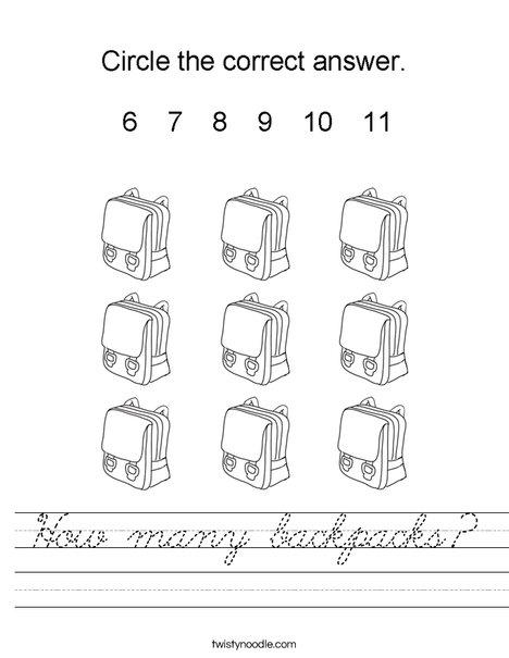 How many backpacks? Worksheet