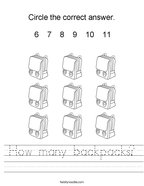 How many backpacks Handwriting Sheet