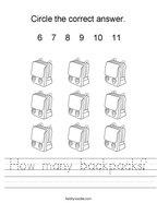 How many backpacks Handwriting Sheet