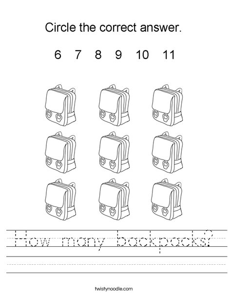 How many backpacks? Worksheet