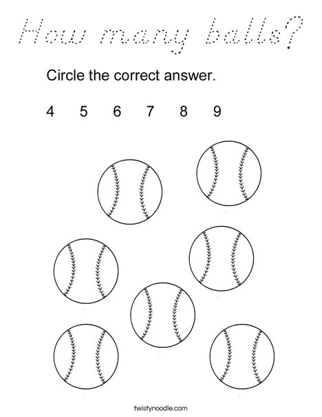 How many balls? Coloring Page