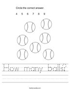 How many balls Handwriting Sheet