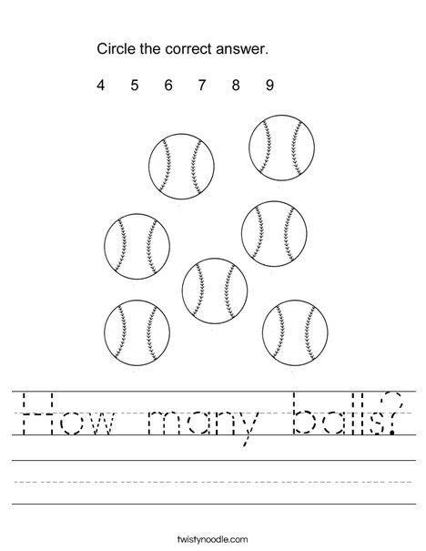 How many balls? Worksheet