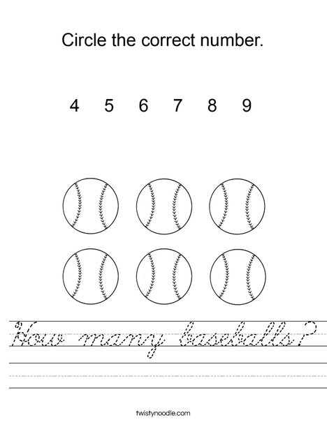 How many baseballs? Worksheet