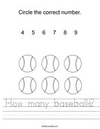 How many baseballs Handwriting Sheet