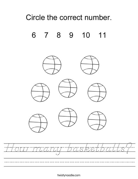 How many basketballs? Worksheet