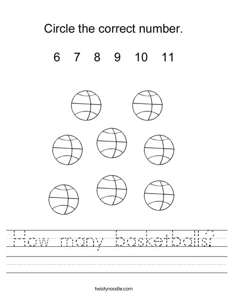 How many basketballs? Worksheet